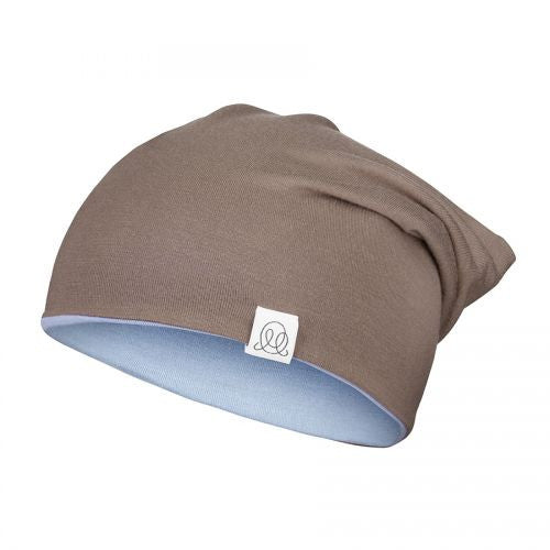 Reversible Bamboo Beanie Taupe - Light Blue
