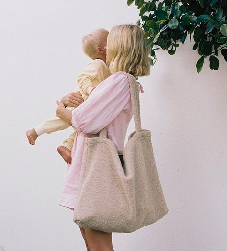 Chunky teddy mom-bag ecru