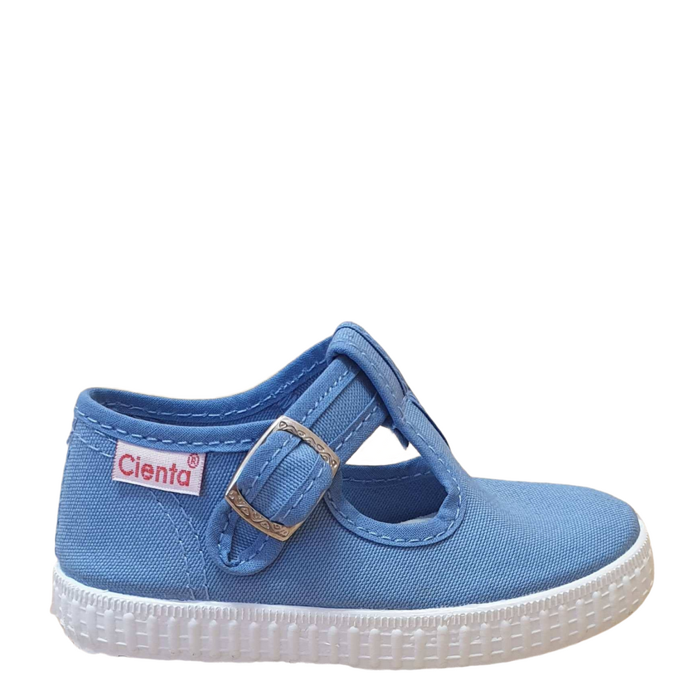 Cienta T-bar shoe with buckle - blue