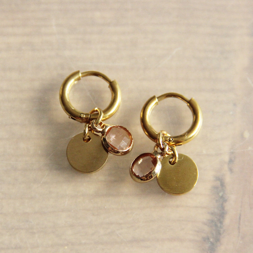 Earrings gold with crystal hanging