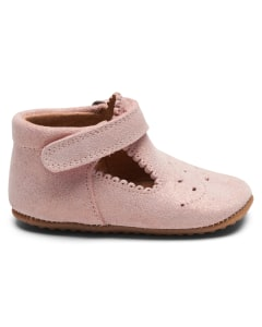 Pom Pom leather slippers - t-bar Old Rose Suede