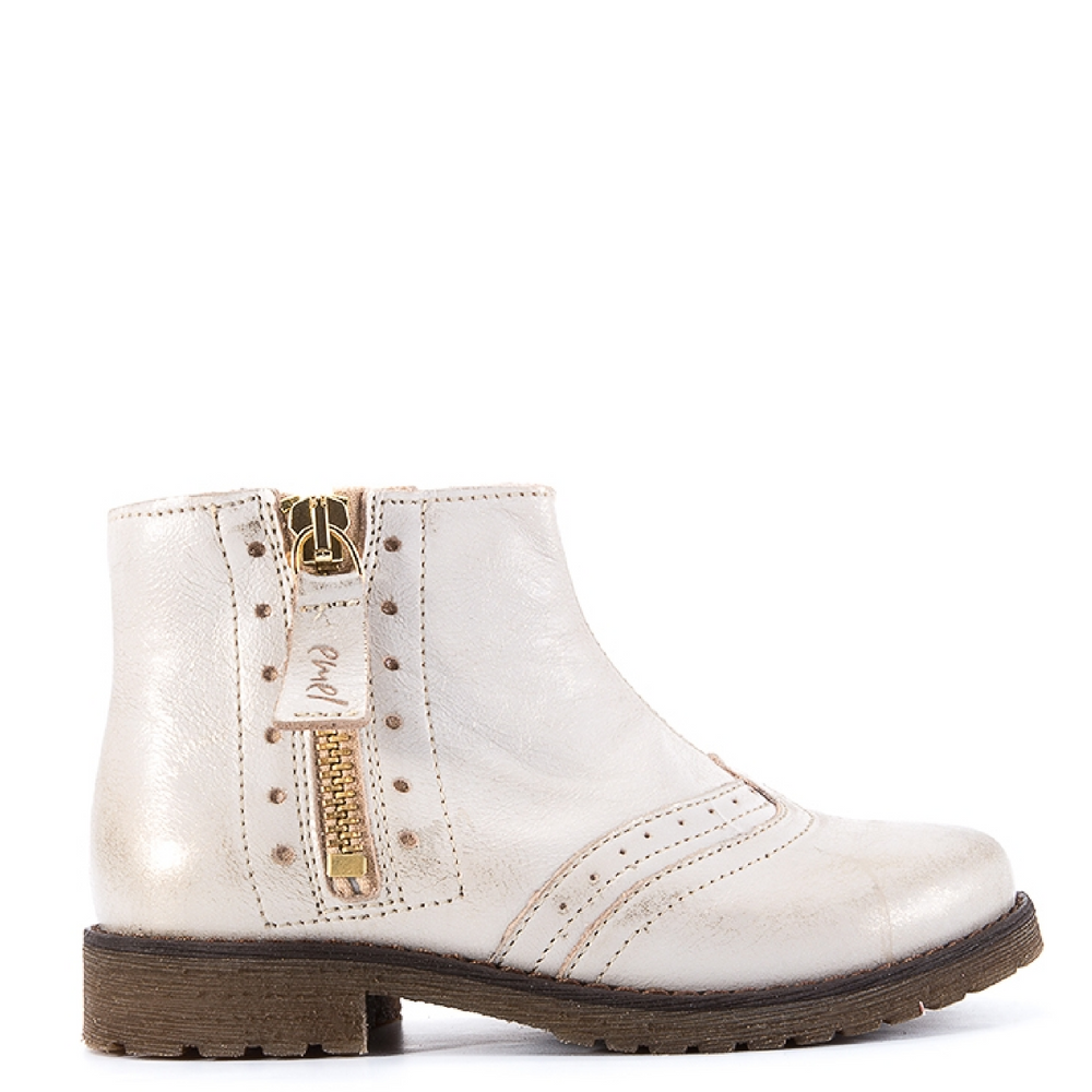 (2614) White gold Ankle Boot