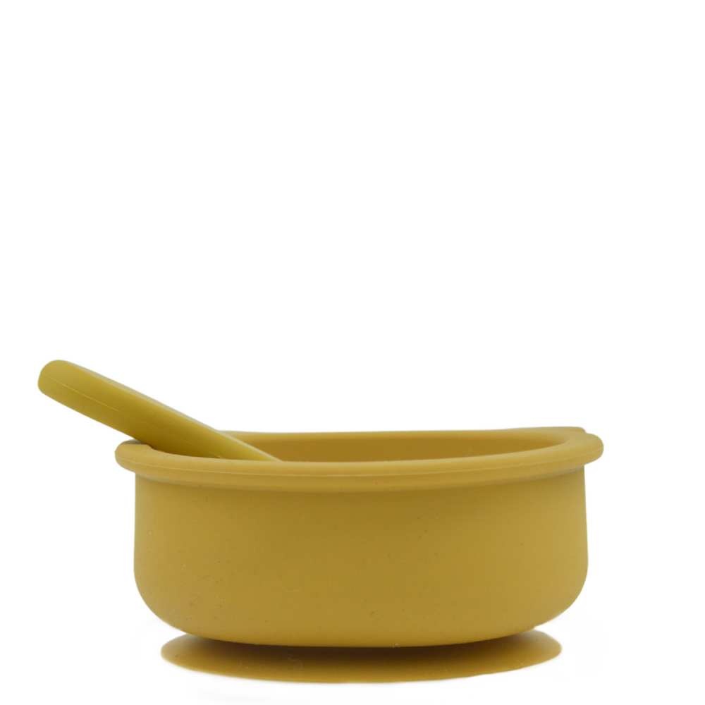 Silicone suction bear bowl - Mustard