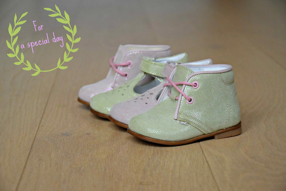 Light Green Shiny Half-Open Shoes (2385-10)