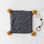Bamboo hooded blanket with pom poms - Grey