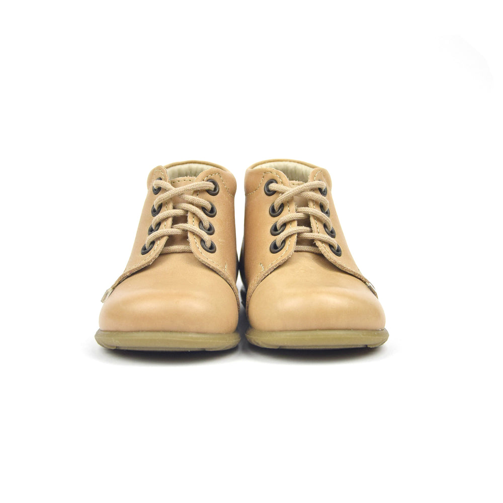 (562D-7) Emel Lace Up First Shoes beige with bow - MintMouse (Unicorner Concept Store)