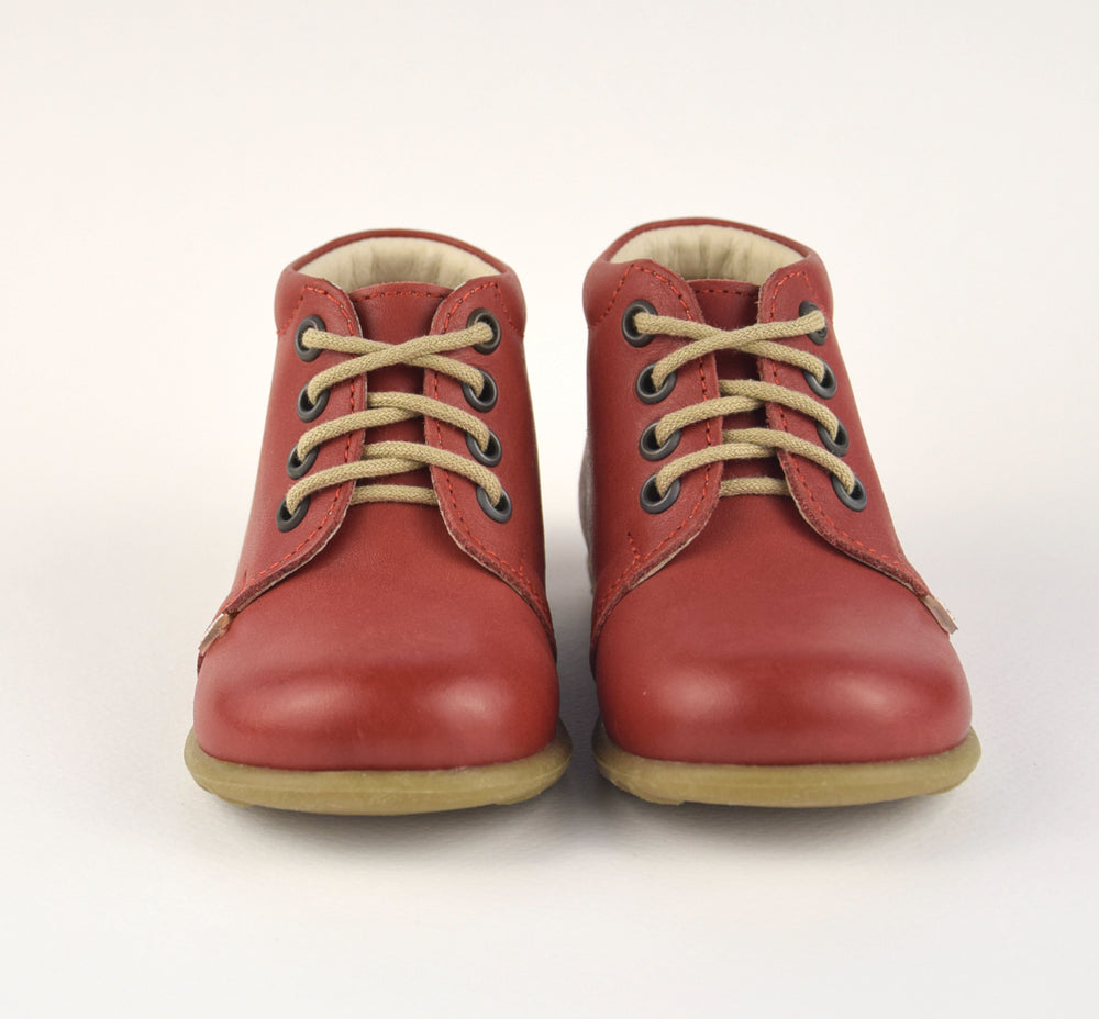 Emel Lace Up First Shoes red with bow (562D-9)