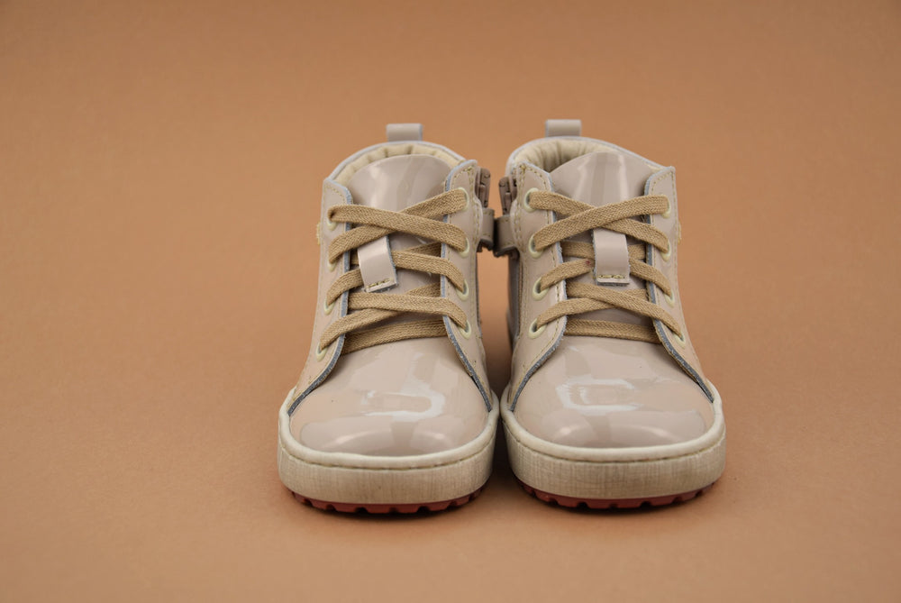 (2624C-1) Emel Beige Patent leather Lace Up Sneakers with zipper - MintMouse (Unicorner Concept Store)