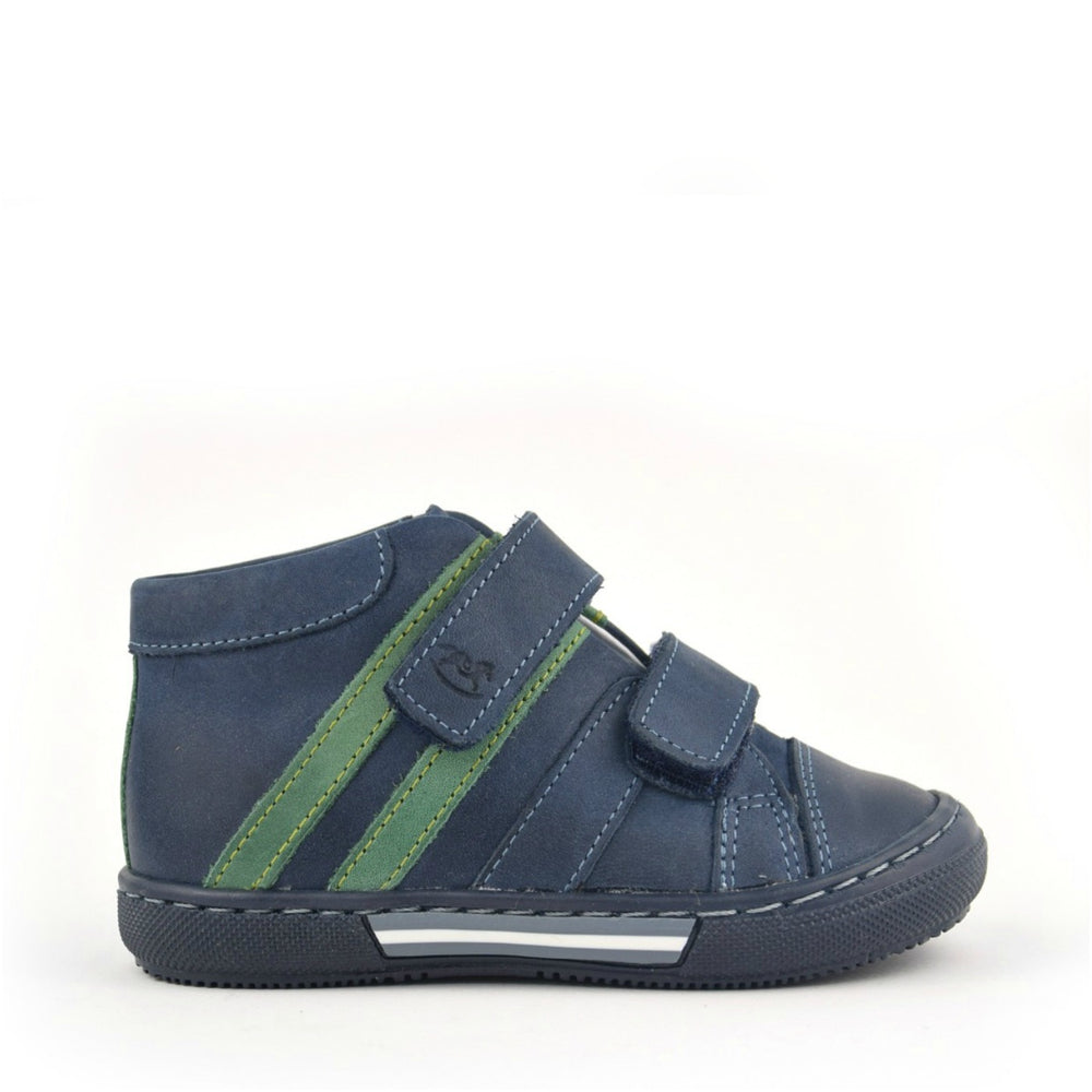 (1855-24) Emel Navy-green Tennis with Velcro Straps