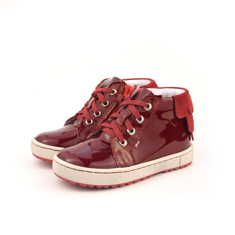 (2624D-1) Emel Red Patent leather Lace Up Sneakers with zipper