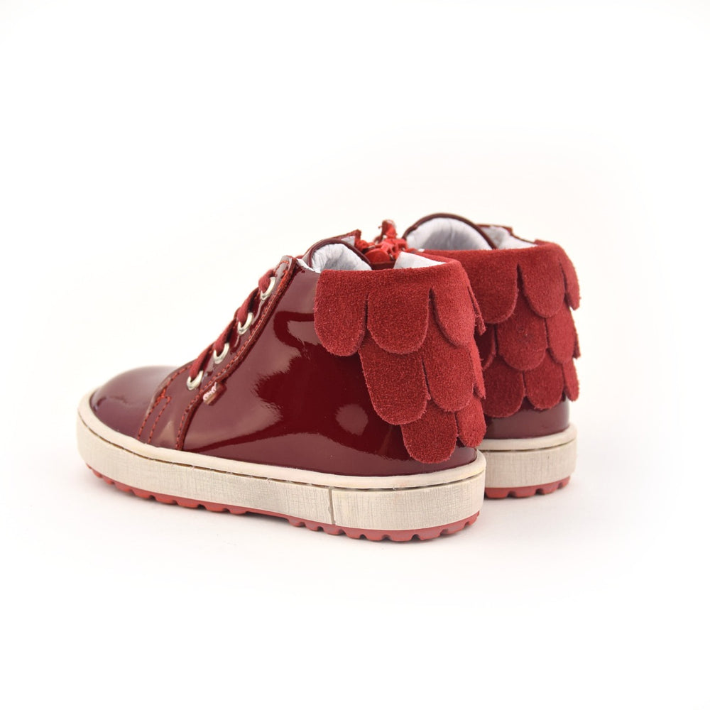 (2624D-1) Emel Red Patent leather Lace Up Sneakers with zipper - MintMouse (Unicorner Concept Store)