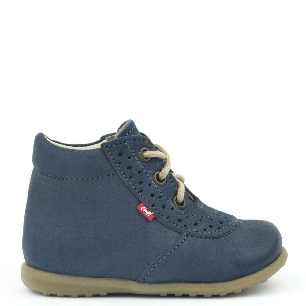 (716-4) Emel Lace Up First Shoes blue