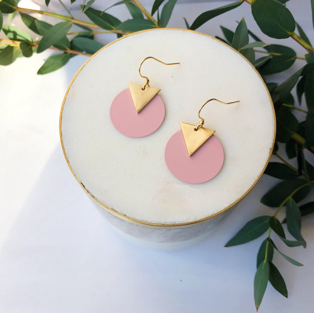 Coloured disc earrings - Dusty pink