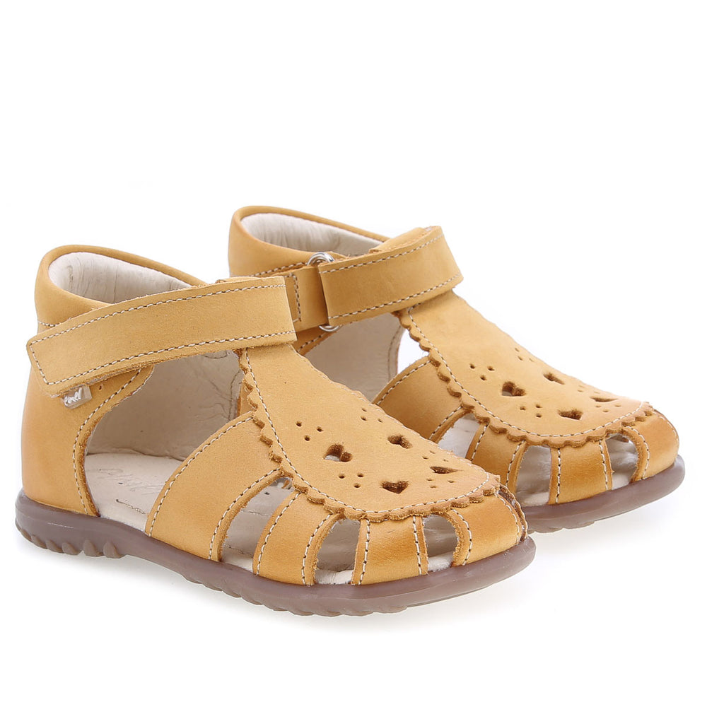 (1214A-14) Emel yellow hearts closed sandals