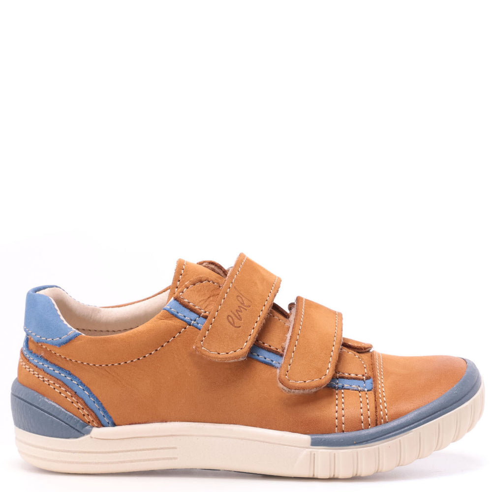 (2066-18) Mustard/blue low Velcro Trainers
