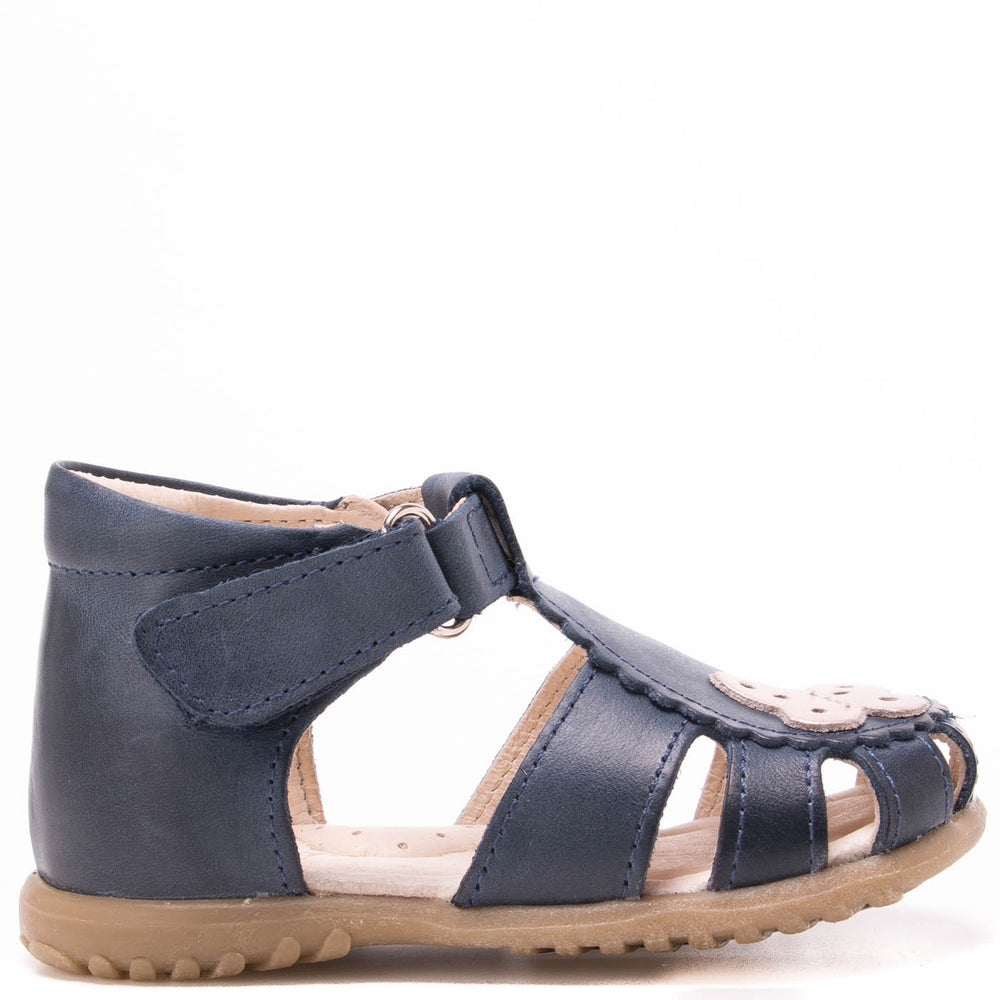 (2183-16) Emel navy butterfly closed sandals