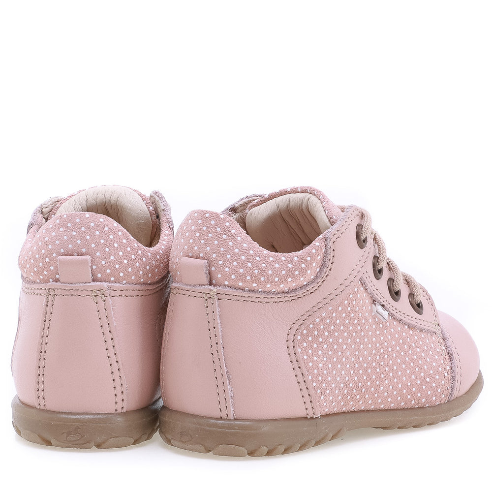 (2369-3) Emel Lace Up First Shoes pink polka dots - MintMouse (Unicorner Concept Store)