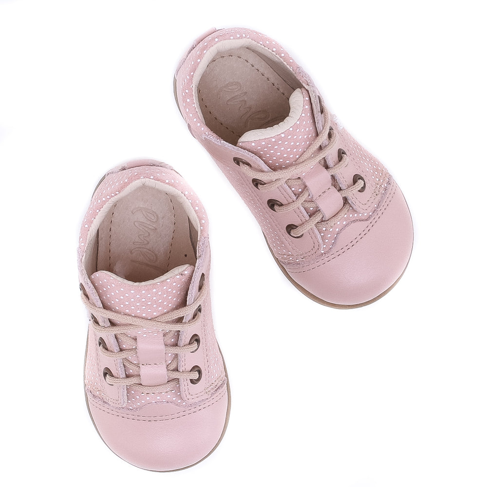 (2369-3) Emel Lace Up First Shoes pink polka dots