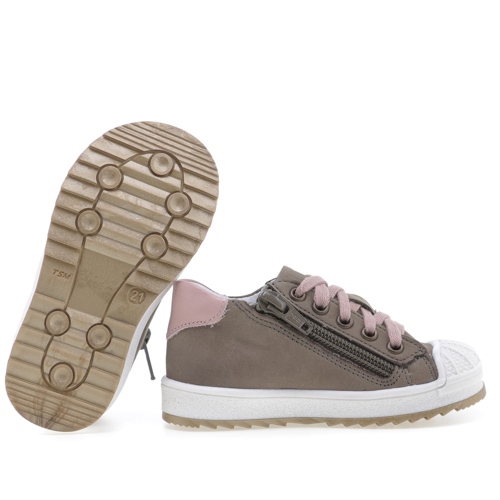 (2627A-27/2628A-27) Low Bumper Trainers khaki with Zipper