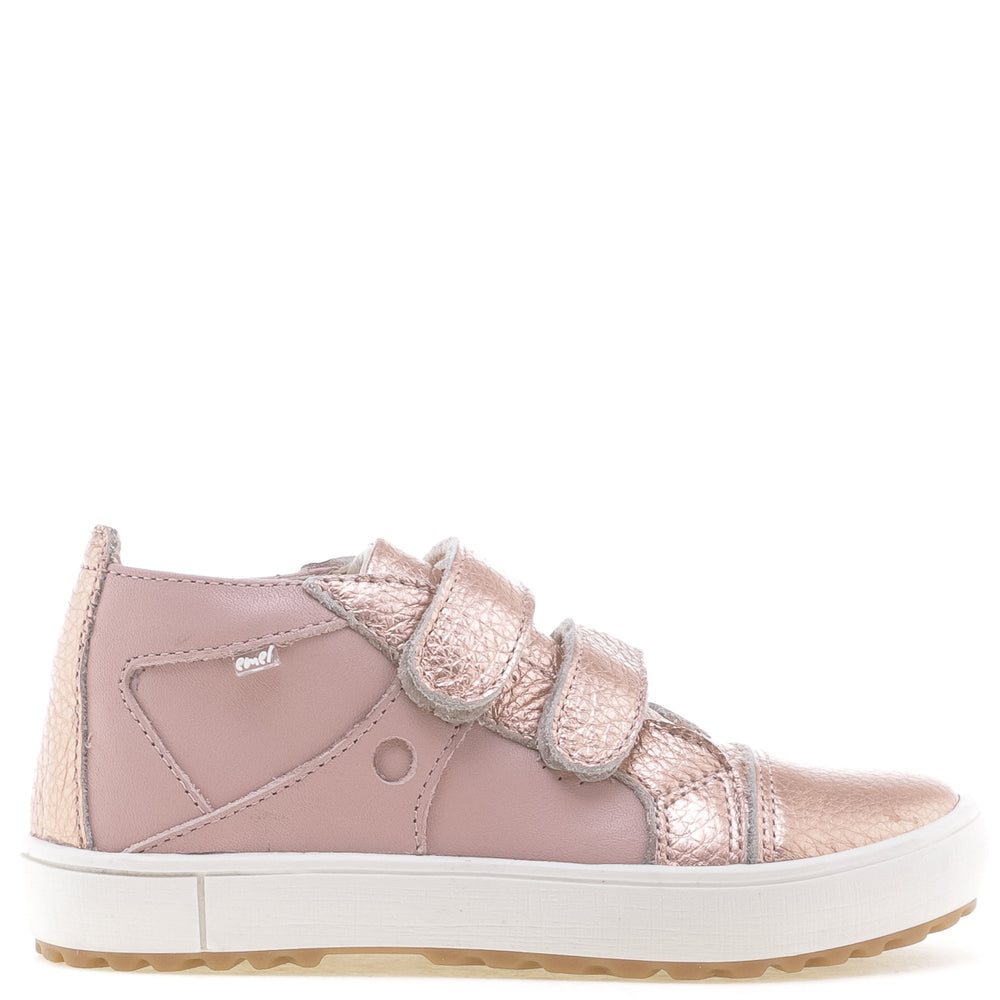 (2634-24) Low Velcro Trainers rose gold