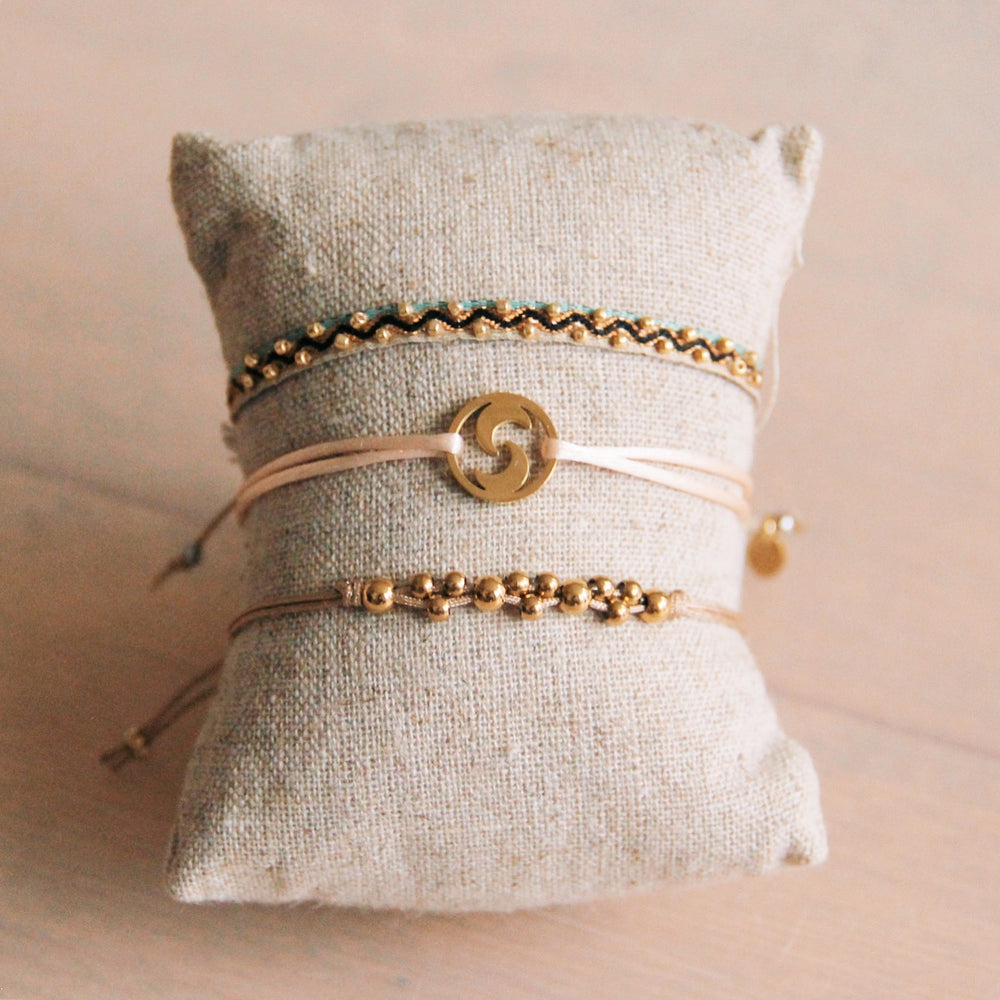 Fabric bracelet with beads - nude / mint / gold color