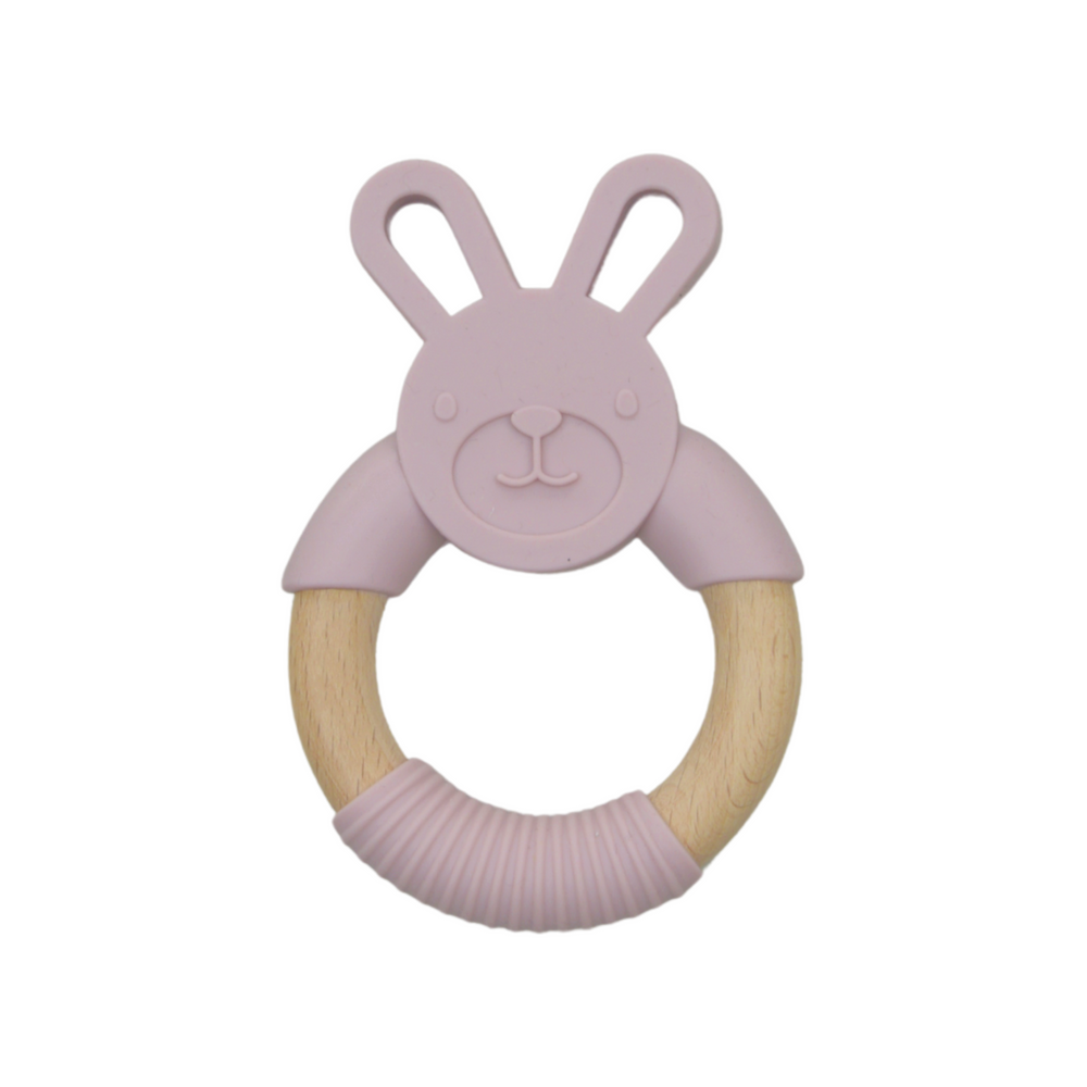 Silicone bunny teether - pink