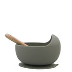 Silicone suction bowl - Olive