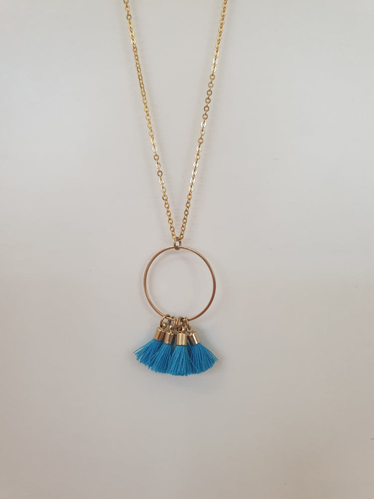 Hoop Circle tassle necklace Blue