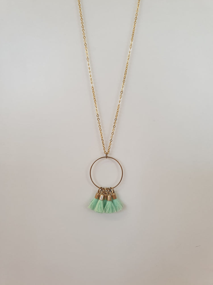 Hoop Circle tassle necklace Mint