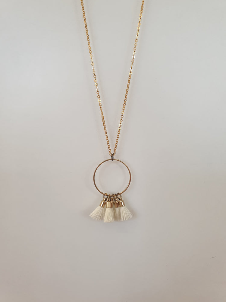 Hoop Circle tassle necklace White