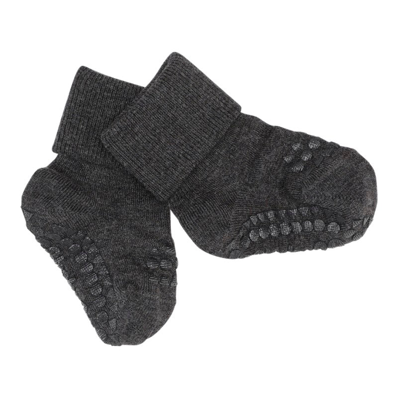 Anti-slip BAMBOO socks - dark grey melange