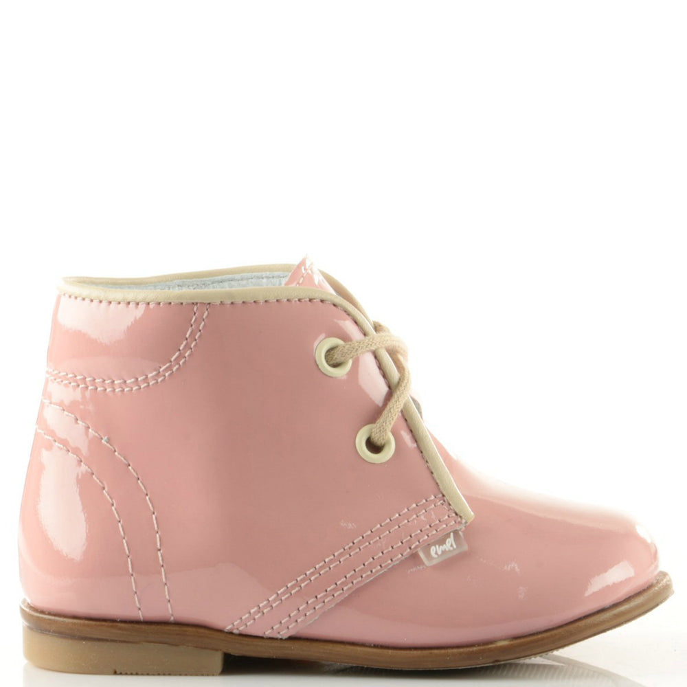 (2393-5) Emel Pink Laque Lace Up Shoes