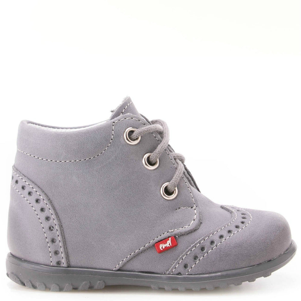 (1437-14) Emel first shoes - grey brogue lace-ups