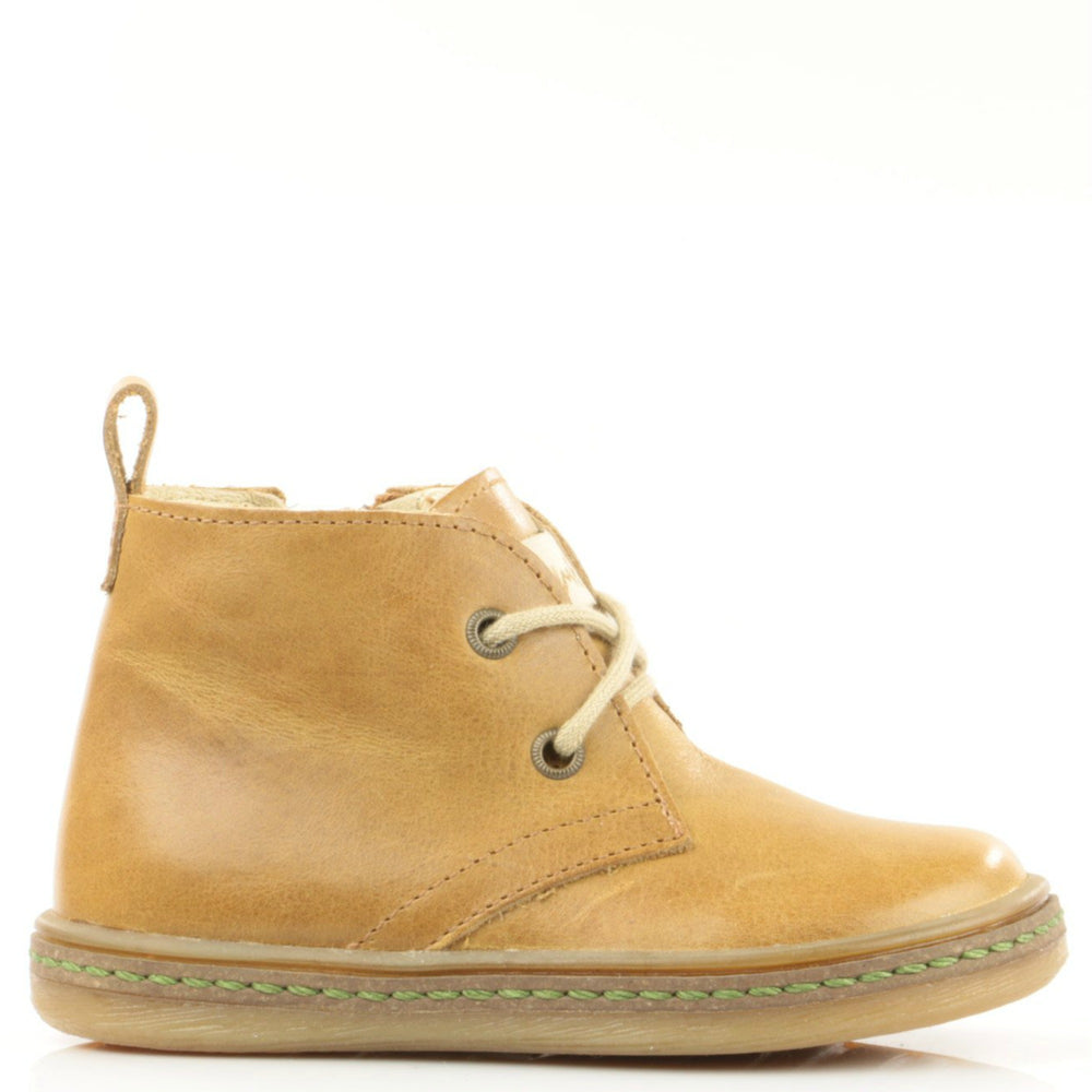 (2621-6) Emel mustard lace-up shoes with zipper