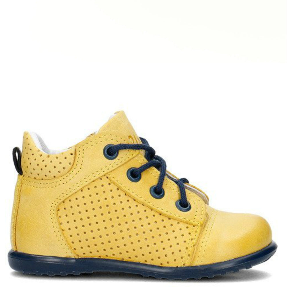 (2429-7) Emel Yellow Lace Up First Shoes