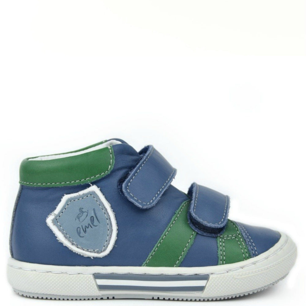 (2451-2) Emel Blue Green Tennis with Velcro Straps