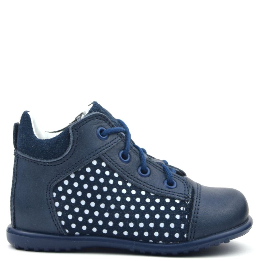 (2105-5) Emel Navy polka dots Lace Up first shoe - MintMouse (Unicorner Concept Store)