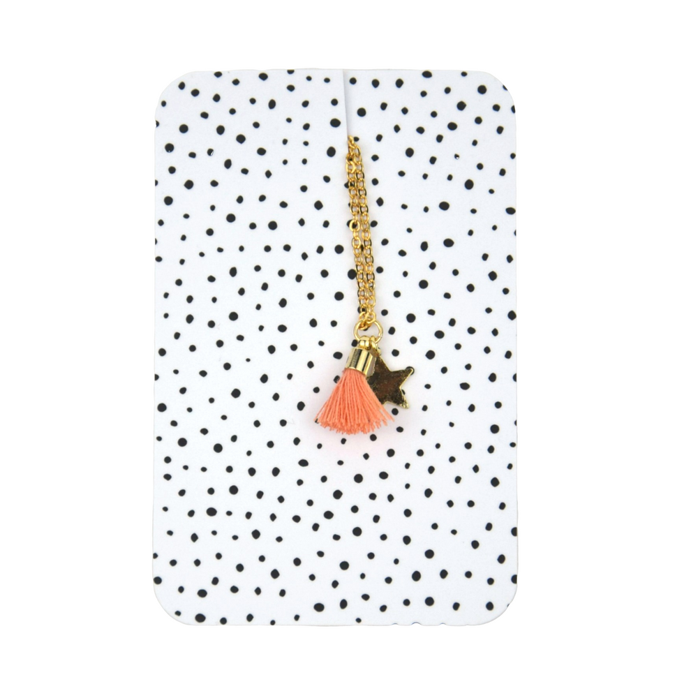 Star tassle necklace Coral