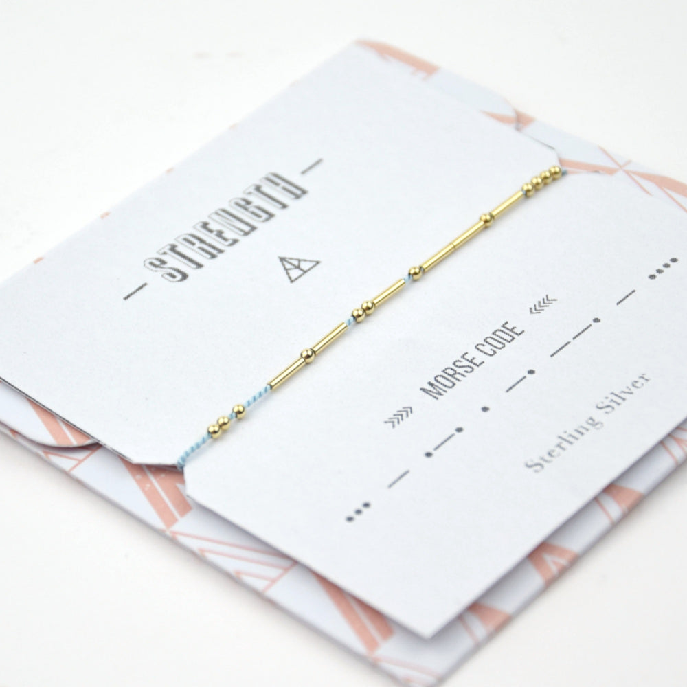 Bracelet Silk thread with sterling silver morse code - STRENGTH - MintMouse (Unicorner Concept Store)