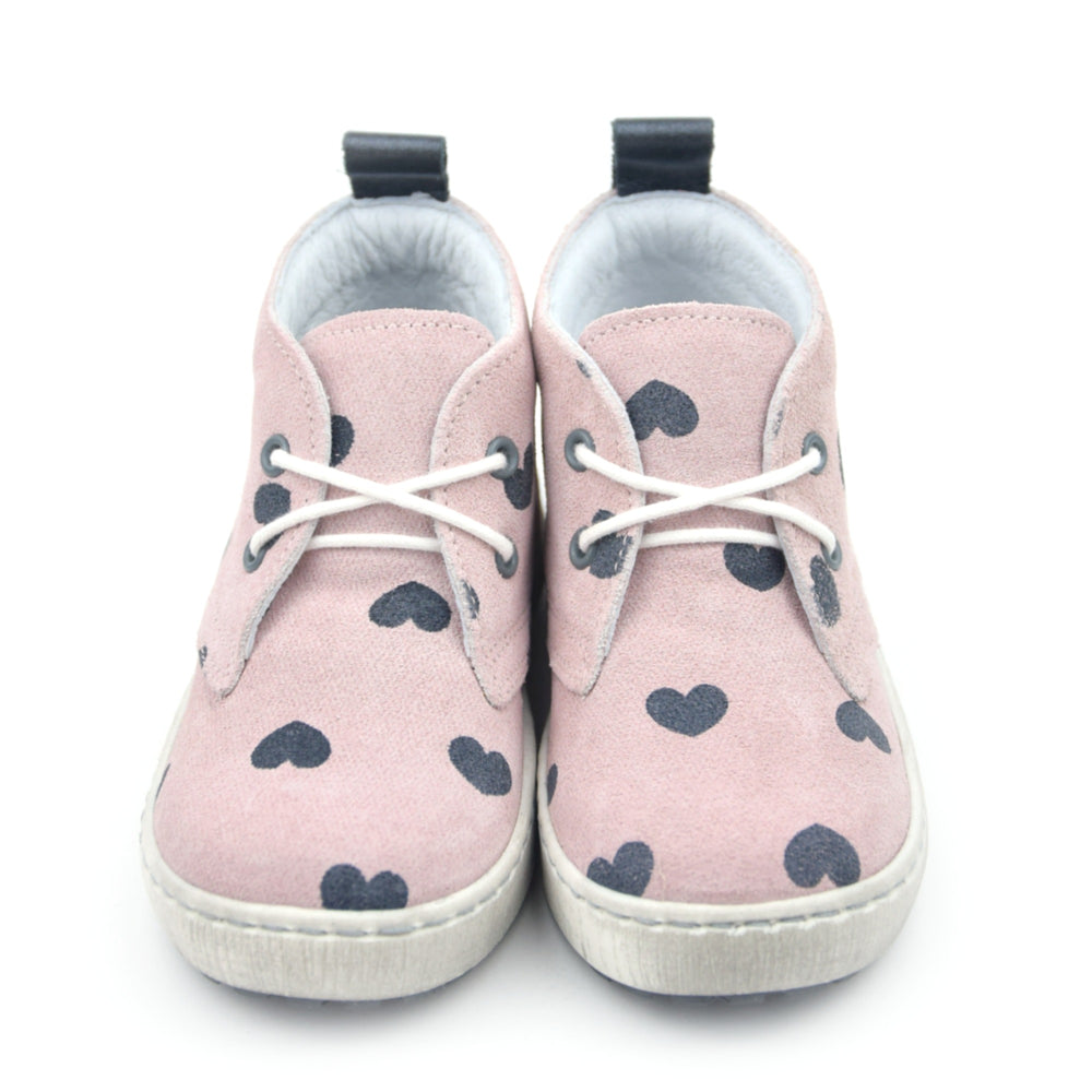 (2150B) Emel Pink Lace Up Trainers hearts - MintMouse (Unicorner Concept Store)