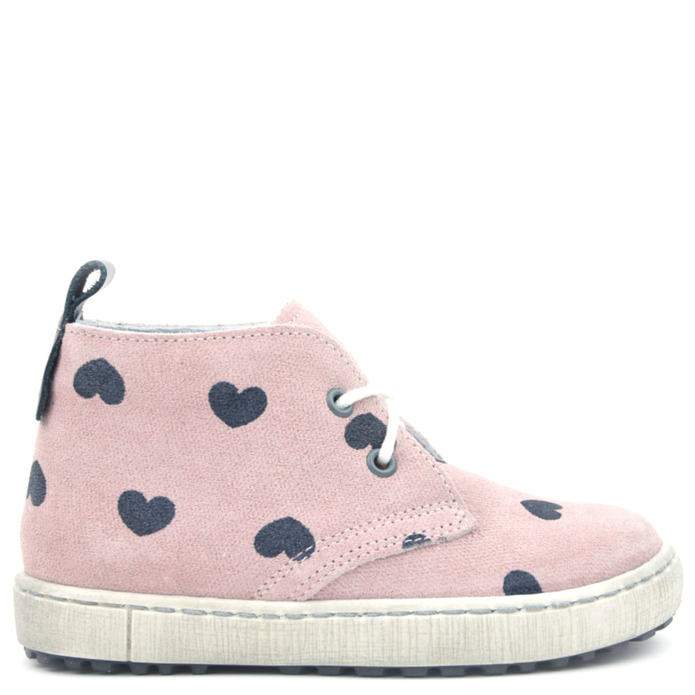 (2150B) Emel Pink Lace Up Trainers hearts