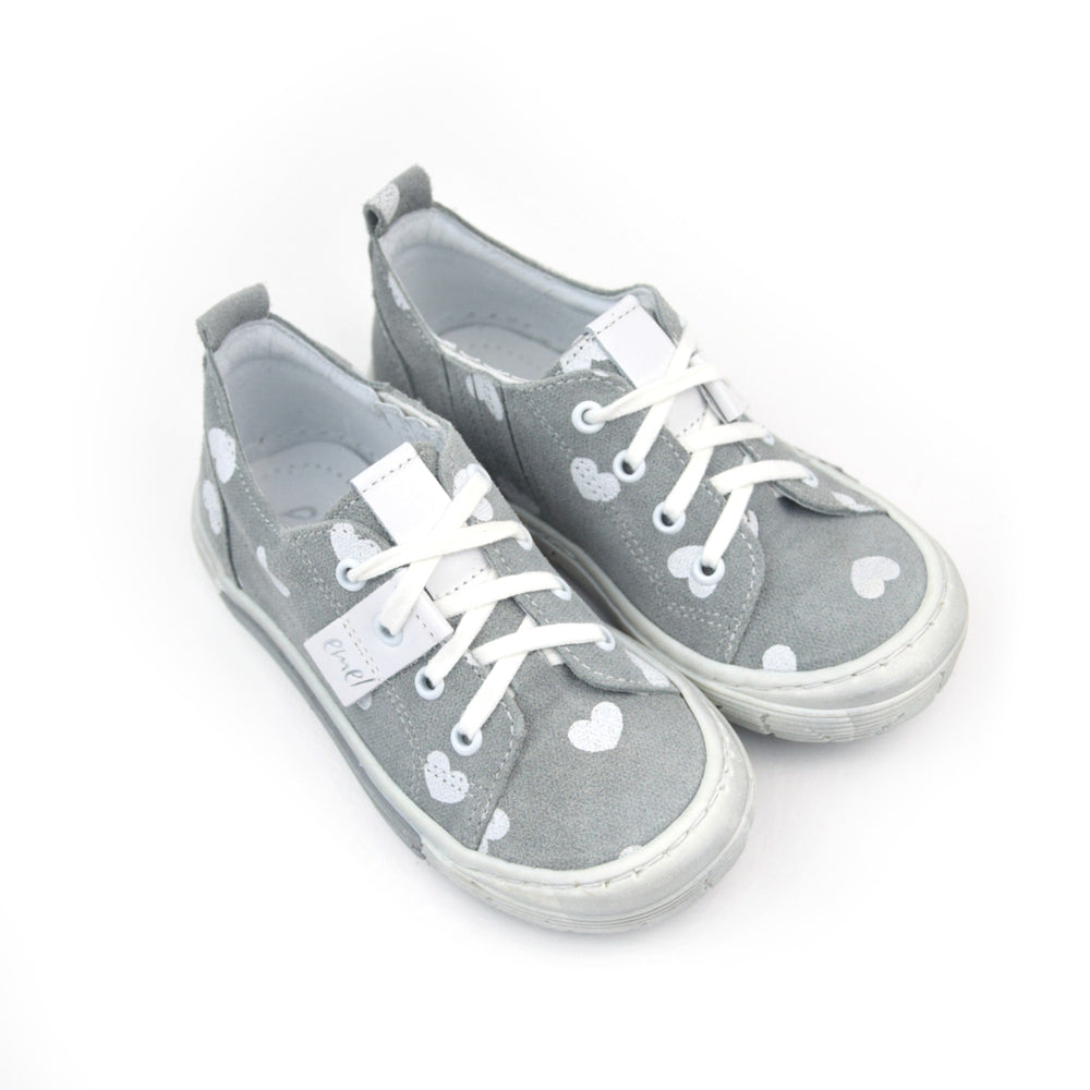 (2251-1) Emel grey hearts Low Lace Up Trainers - MintMouse (Unicorner Concept Store)