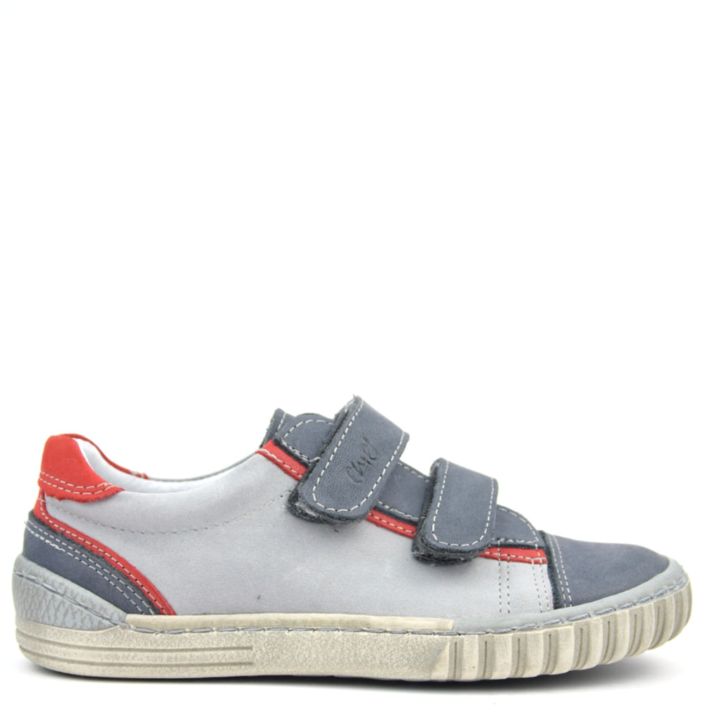 (2066-grey red) Emel low Velcro Trainers - grey red