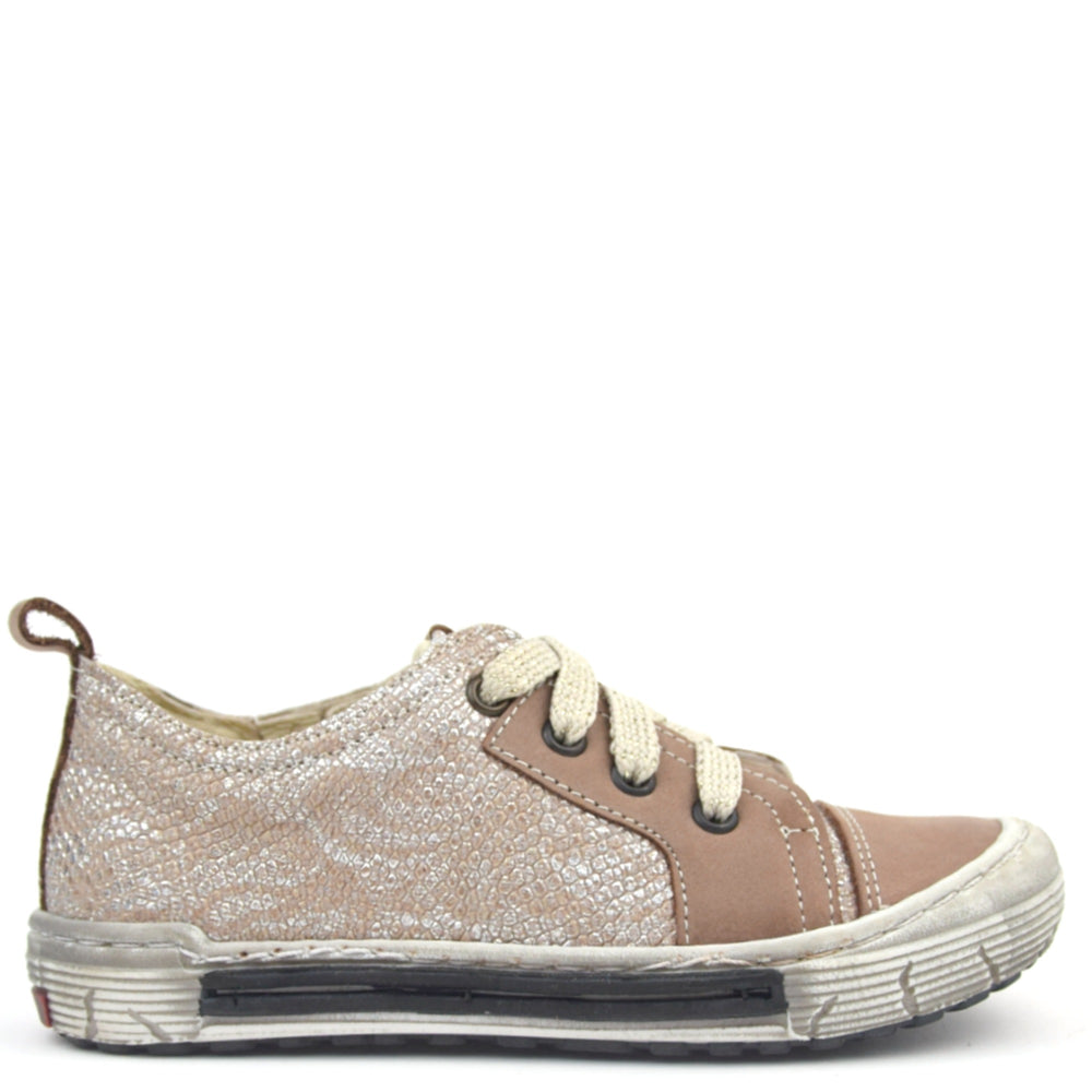 (2592B-9) Emel Low Lace Up Trainers brown silver
