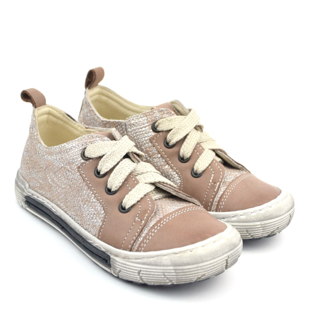 (2592B-9) Emel Low Lace Up Trainers brown silver - MintMouse (Unicorner Concept Store)