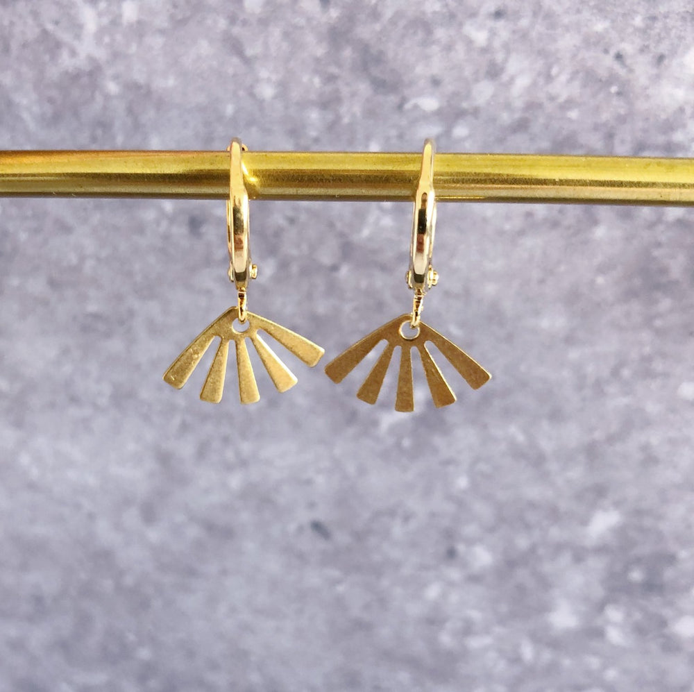 Small hoop earrings - brass sun - MintMouse (Unicorner Concept Store)