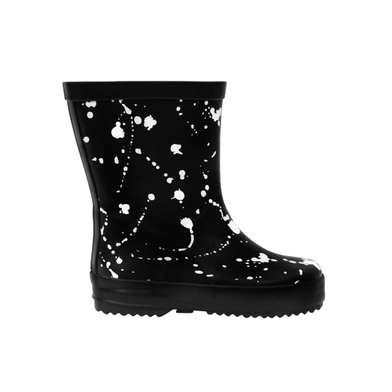 Black freckled rainboots