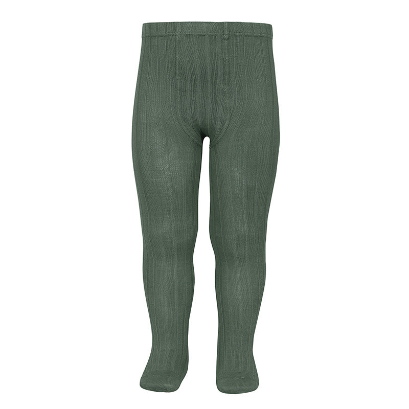 Tights ribbed basic - lichen green