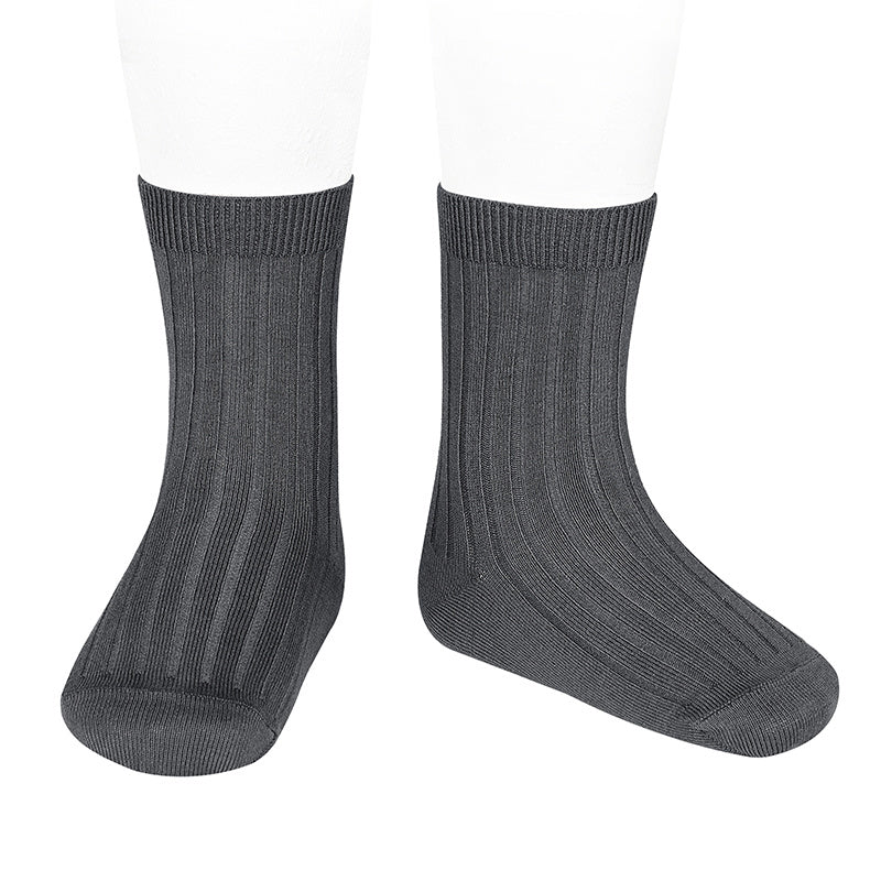 Socks ribbed basic - anthracite