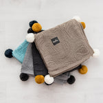 Bamboo hooded blanket with pom poms - blue - MintMouse (Unicorner Concept Store)